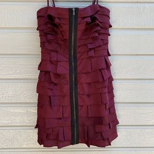 BCBG | Maroon Ruffled Cocktail Dress - Size 2